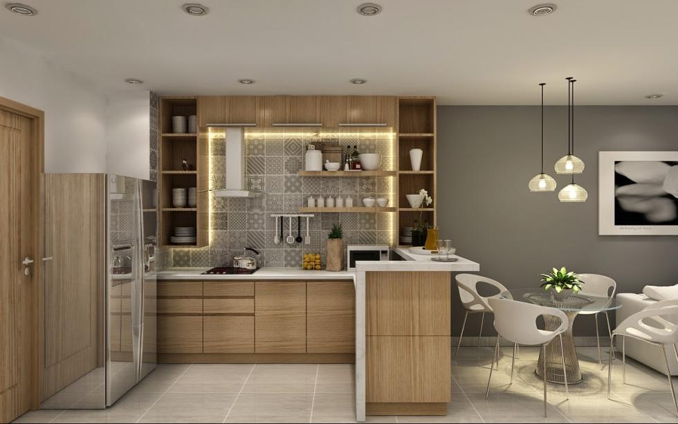 Vách ngăn mở giữa phòng khách và phòng bếp
